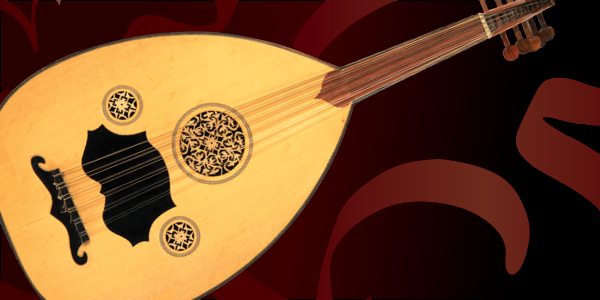 Oud the musical instrument with arabic calligraphy